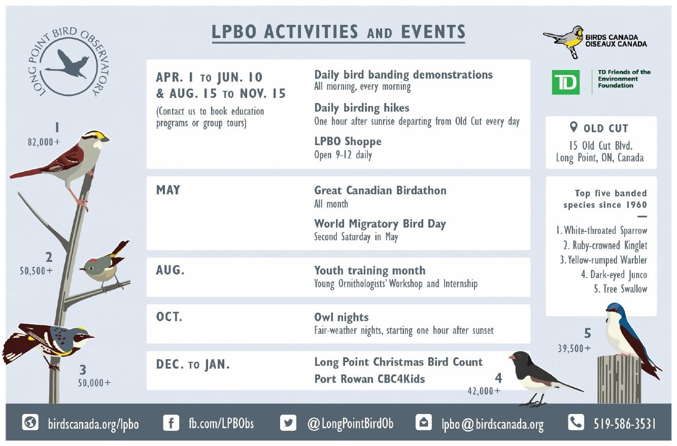 Calendar of Activities and Events by month for Long Point Bird Observatory