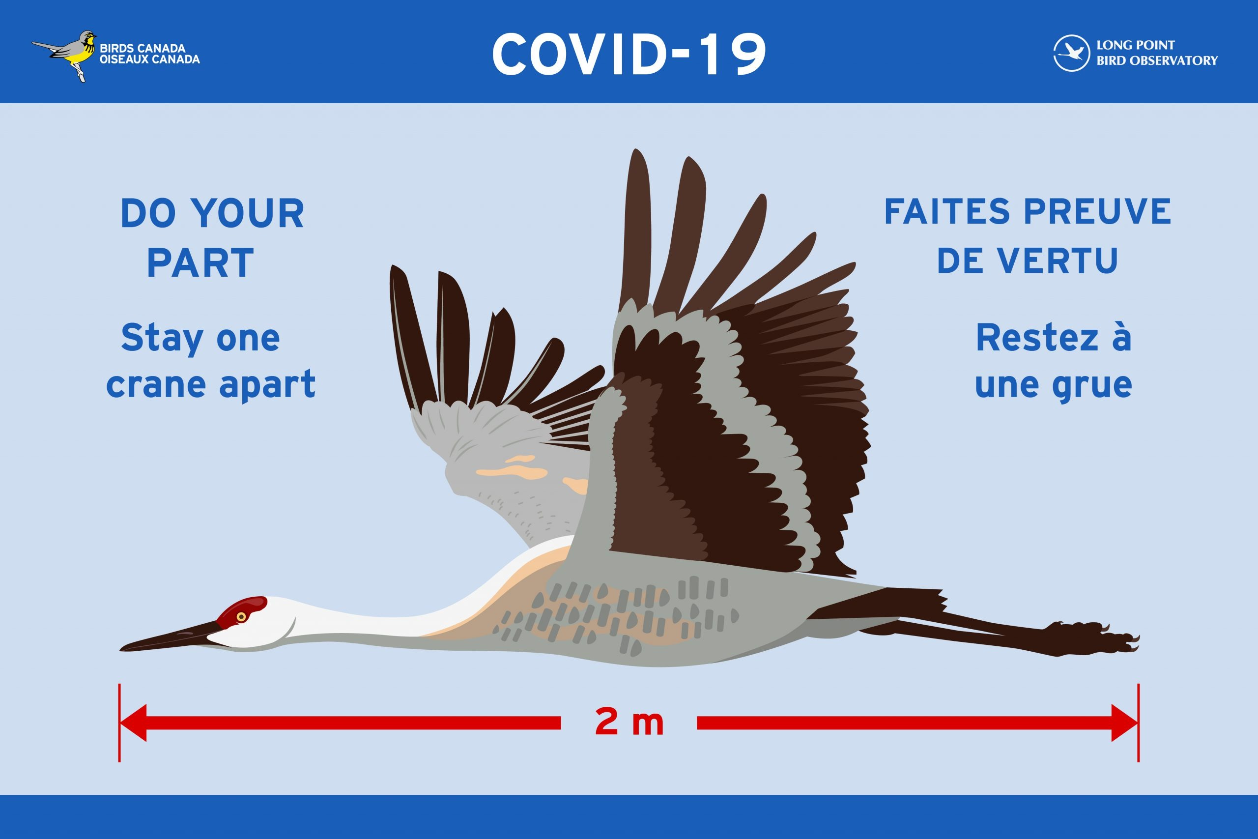 "A colourful Covid-19 Sign encouraging 2 metre Social Distancing. The signs features beautiful Sandhill Crane in flight with the caption ""Do your part: Stay One Crane Apart"""